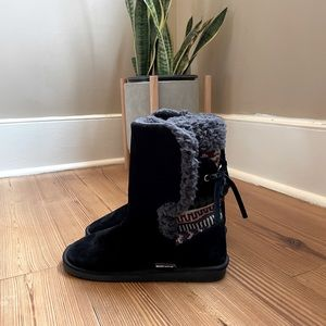 Muk Luks black boots with print SIZE 9